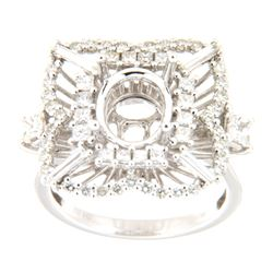 1.53 CTW Diamond Semi Mount Ring 14K White Gold - REF-195X3R