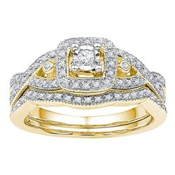 0.25 CTW Diamond Bridal Wedding Engagement Ring 10KT Yellow Gold - REF-37N5F