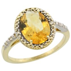Natural 2.42 ctw Citrine & Diamond Engagement Ring 14K Yellow Gold - REF-34F7N
