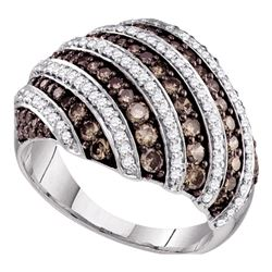 1.33 CTW Brown Color Diamond Fashion Ring 10KT White Gold - REF-75M2H
