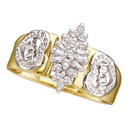 0.12 CTW Diamond Mom Mother Ring 10KT Yellow Gold - REF-12K2W