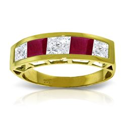 Genuine 2.35 ctw White Topaz & Ruby Ring Jewelry 14KT Yellow Gold - REF-56X7M