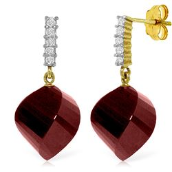 Genuine 30.65 ctw Ruby & Diamond Earrings Jewelry 14KT Yellow Gold - REF-59R9P