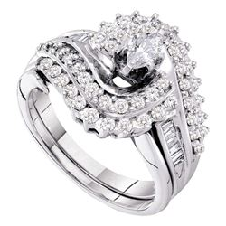 1.05 CTW Marquise Diamond Bridal Engagement Ring 14KT White Gold - REF-149K9W