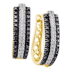 1 CTW Black Color Diamond Triple Row Hoop Earrings 14KT Yellow Gold - REF-75K2W