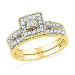 0.50 CTW Princess Diamond Square Halo Bridal Engagement Ring 10KT Yellow Gold - REF-47Y8X