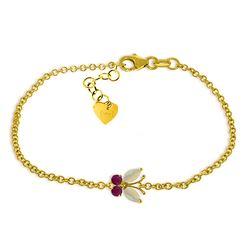 Genuine 0.60 ctw Opal & Ruby Bracelet Jewelry 14KT Yellow Gold - REF-43R9P