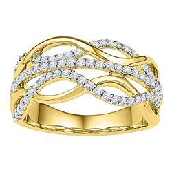 0.60 CTW Diamond Woven Strand Ring 10KT Yellow Gold - REF-59K9W