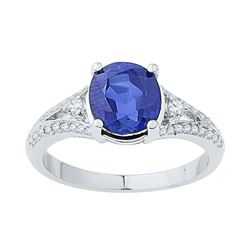 2.5 CTW Oval Created Blue Sapphire Solitaire Diamond Ring 10KT White Gold - REF-26W9K