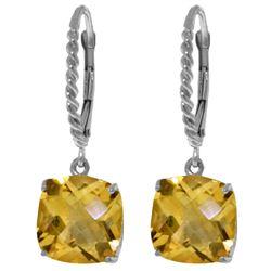 Genuine 7.2 ctw Citrine Earrings Jewelry 14KT White Gold - REF-48Y3F