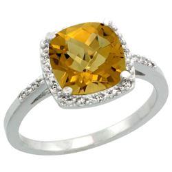 Natural 3.92 ctw Whisky-quartz & Diamond Engagement Ring 14K White Gold - REF-33H6W