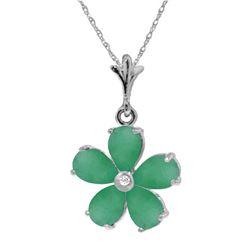 Genuine 2.22 ctw Emerald & Diamond Necklace Jewelry 14KT Rose Gold - REF-40H7X