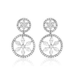 2.29 CTW Diamond & Marquise Earrings 14K White Gold - REF-160H3M