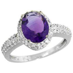 Natural 1.91 ctw Amethyst & Diamond Engagement Ring 10K White Gold - REF-31R7Z