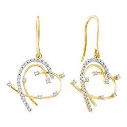 0.30 CTW Diamond Wire Heart Dangle Earrings 14KT Yellow Gold - REF-34M4H
