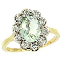 Natural 2.34 ctw Green-amethyst & Diamond Engagement Ring 10K Yellow Gold - REF-69M8H