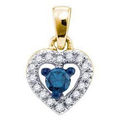 0.20 CTW Blue Color Diamond Heart Love Pendant 10KT Yellow Gold - REF-14M9H