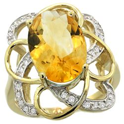 Natural 5.59 ctw citrine & Diamond Engagement Ring 14K Yellow Gold - REF-59K6R