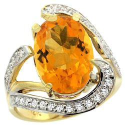 Natural 6.22 ctw citrine & Diamond Engagement Ring 14K Yellow Gold - REF-134K9R