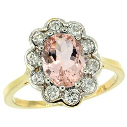 Natural 2.29 ctw Morganite & Diamond Engagement Ring 14K Yellow Gold - REF-90Y6X