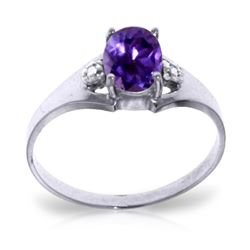 Genuine 0.76 ctw Amethyst & Diamond Ring Jewelry 14KT White Gold - REF-20R8P