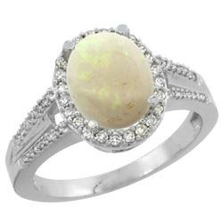 Natural 1.73 ctw opal & Diamond Engagement Ring 10K White Gold - REF-44Z4Y