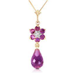 Genuine 2.78 ctw Amethyst & Diamond Necklace Jewelry 14KT Yellow Gold - REF-31W2Y
