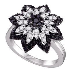 0.85 CTW Black Color Diamond Flower Cluster Ring 10KT White Gold - REF-67N4F