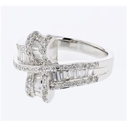 0.97 CTW Diamond Ring 18K White Gold - REF-108N4Y