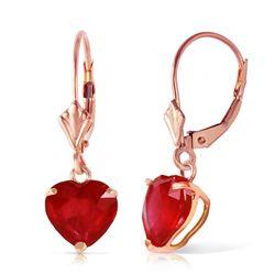 Genuine 2.9 ctw Ruby Earrings Jewelry 14KT Rose Gold - REF-39A3K