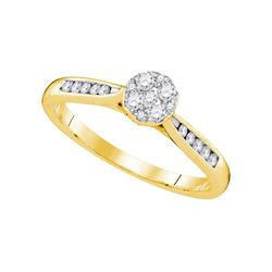 0.25 CTW Diamond Cluster Bridal Engagement Ring 14KT Yellow Gold - REF-30F2N