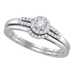 0.20 CTW Diamond Small Halo Wedding Bridal Ring 14k White Gold - REF-37W5K