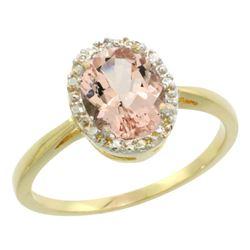 Natural 1.22 ctw Morganite & Diamond Engagement Ring 14K Yellow Gold - REF-31X5A