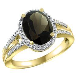Natural 2.72 ctw smoky-topaz & Diamond Engagement Ring 14K Yellow Gold - REF-54R4Z