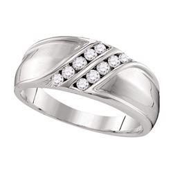 0.34 CTW Mens Diamond Double Row Wedding Ring 10KT White Gold - REF-44K9W