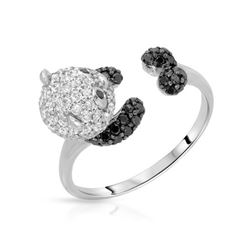 1.04 CTW White & Black Diamond Ring 18K White Gold - REF-85X2R