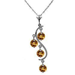 Genuine 2.25 ctw Citrine Necklace Jewelry 14KT White Gold - REF-30N2R