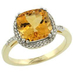 Natural 4.11 ctw Citrine & Diamond Engagement Ring 14K Yellow Gold - REF-44F2N