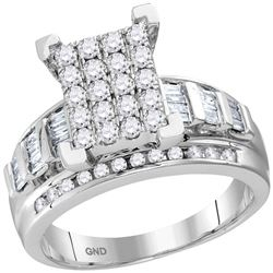 0.92 CTW Diamond Cluster Bridal Engagement Ring 10KT White Gold - REF-59X9Y