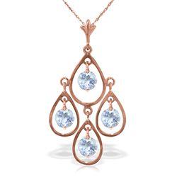 Genuine 1.20 ctw Aquamarine Necklace Jewelry 14KT Rose Gold - REF-34M3T