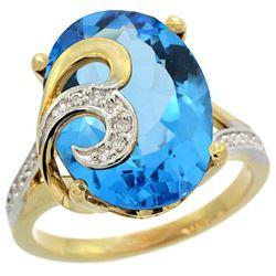 Natural 11.18 ctw swiss-blue-topaz & Diamond Engagement Ring 14K Yellow Gold - REF-82X2A