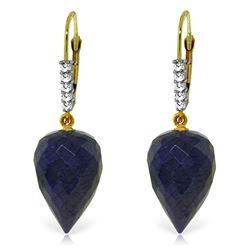 Genuine 25.95 ctw Sapphire & Diamond Earrings Jewelry 14KT Yellow Gold - REF-53Z4N