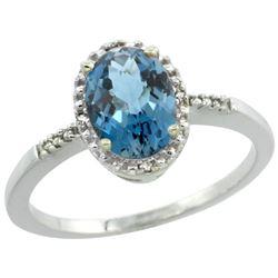 Natural 1.2 ctw London-blue-topaz & Diamond Engagement Ring 10K White Gold - REF-17K5R
