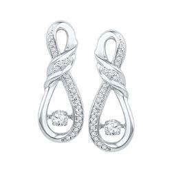 0.33 CTW Diamond Solitaire Ribbon Earrings 10KT White Gold - REF-44M9H