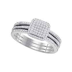 0.33 CTW Diamond Cluster Bridal Engagement Ring 10KT White Gold - REF-34K4W