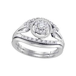 0.33 CTW Diamond Openwork Antique-style Bridal Ring 10KT White Gold - REF-44F9N