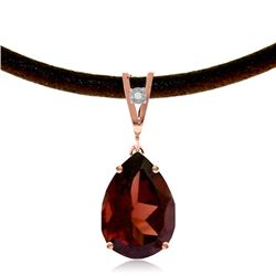 Genuine 6.01 ctw Garnet & Diamond Necklace Jewelry 14KT Rose Gold - REF-49T2A