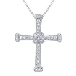 0.41 CTW Diamond Pendant 18K White Gold - REF-64M3F