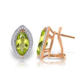 Genuine 4.3 ctw Peridot & Diamond Earrings Jewelry 14KT Rose Gold - REF-102Y8F