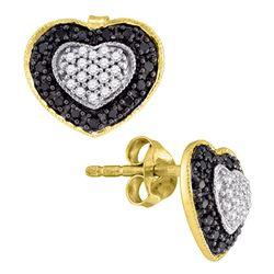 0.50 CTW Black Color Diamond Heart Stud Earrings 10KT Yellow Gold - REF-26Y9X